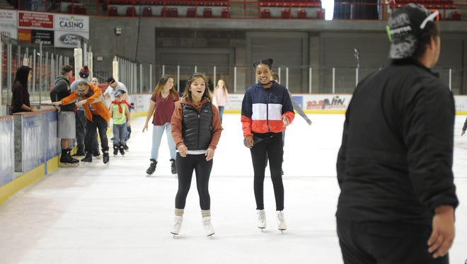 Try your feet out on the ice Sunday during open skating at the Kay Yeager Coliseum.