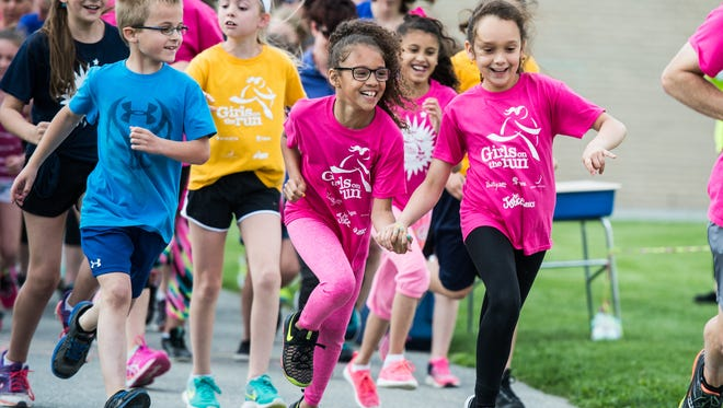 Girls from Harding, Henry Houck and Southeast elementary schools and their women mentors joined the girls from Union Canal Elementary School and their women mentors for their upcoming 5K race in Lancaster on Tuesday, May 2, 2017. The girls are part of the Girls on the Run International which is an exercise-based program that empowers elementary school  age girls by teaming them with women mentors and through learning about healthy lifestyle choices, including running.