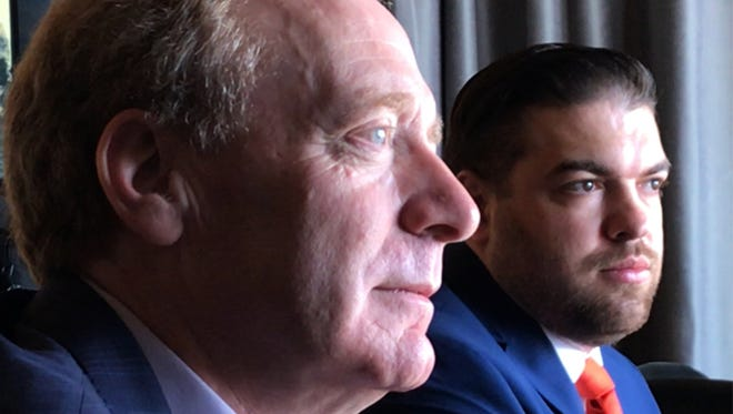 """Microsoft President Brad Smith, foreground, and Jonathan """"JJ"""" Childress, Microsoft TechSpark community engagement manager for El Paso, talked about El Paso being selected for TechSpark during a Monday meeting with El Paso Times staff."""