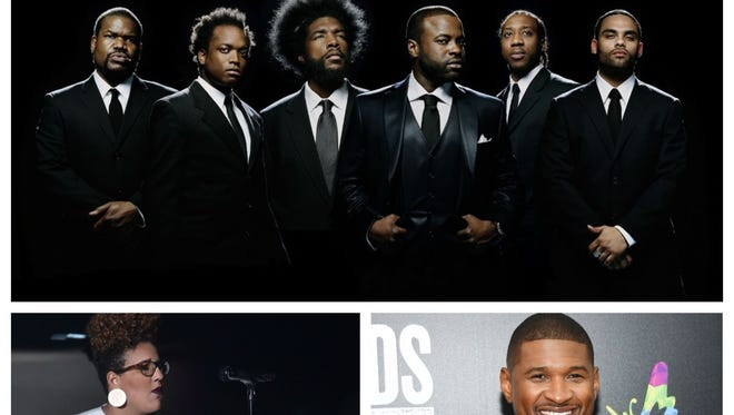 The concert will feature, among others (clockwise from top), The Roots, Usher and Brittany Howard of Alabama Shakes.
