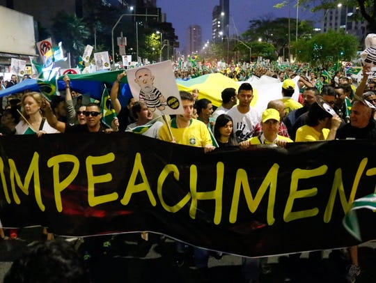 Protesters rally against Brazil's President Dilma Rousseff