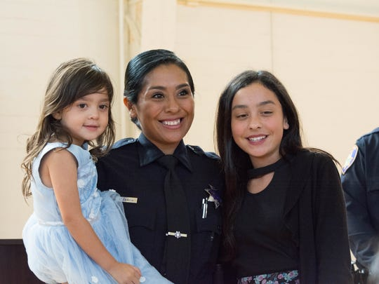 Samantha Garcia was sworn in as one of the Salinas Police Department's newest officers. She attended North Salinas High School and graduated from the Salinas Adult School.