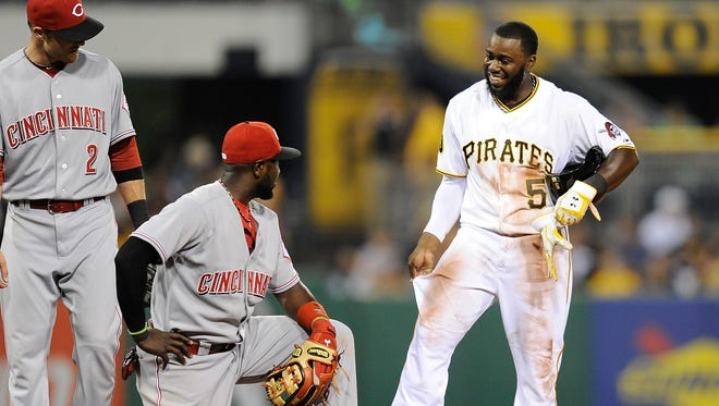 Former Princeton High School and UC start Josh Harrison of the Pirates tied a career-high with four hits on Wednesday.
