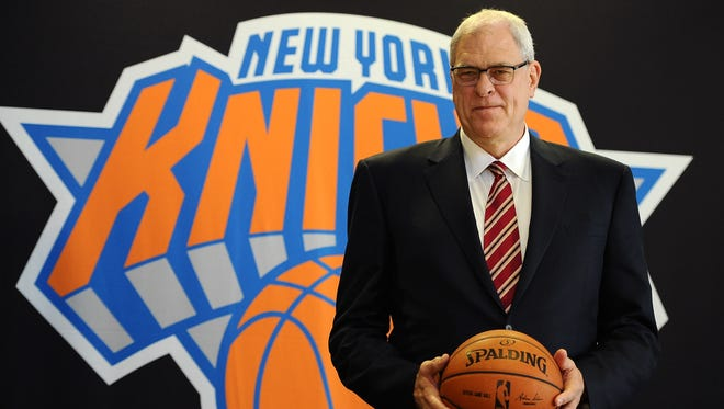 Phil Jackson stands for photos during his introductory press conference as President of the New York Knicks at Madison Square Garden on March 18, 2014 in New York City.