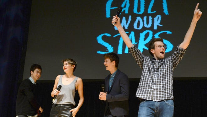 """Nat Wolff, Shailene Woodley, Ansel Elgort, and John Green attend """"The Fault In Our Stars"""" fan event in Nashville, Tenn."""