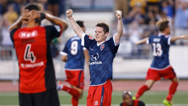 Indy Eleven's Mike Ambersley reacts to a goal against San Antonio Scorpions at IUPUI's Carroll Stadium Saturday May 31, 2014. San Antonio won 2-1.