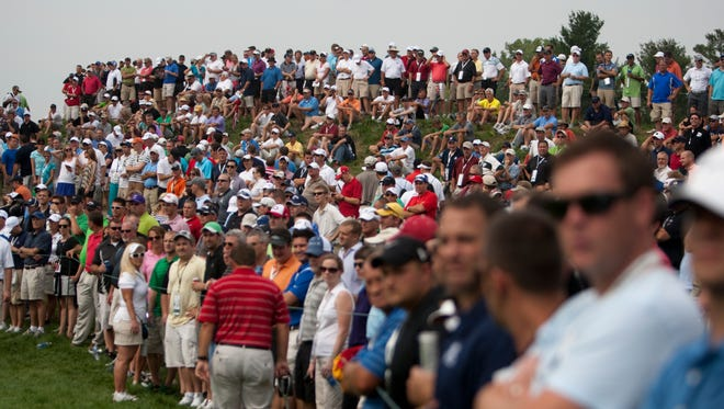 FILE -- Fans line the course during morning play at the BMW Championships, Crooked Stick Golf Club, Carmel, Sept. 7, 2012.