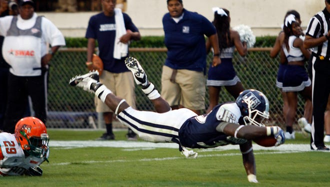 Jackson State running back Rakeem Sims scores in the endzone. It was one of the few touchdowns JSU scored when inside the 20.