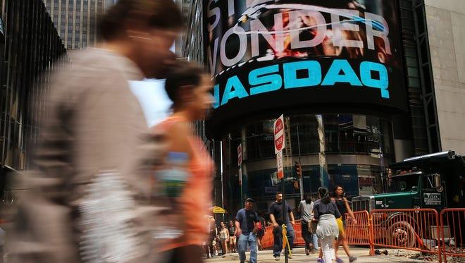 The Nasdaq stock market broke through the 4000 mark Monday.
