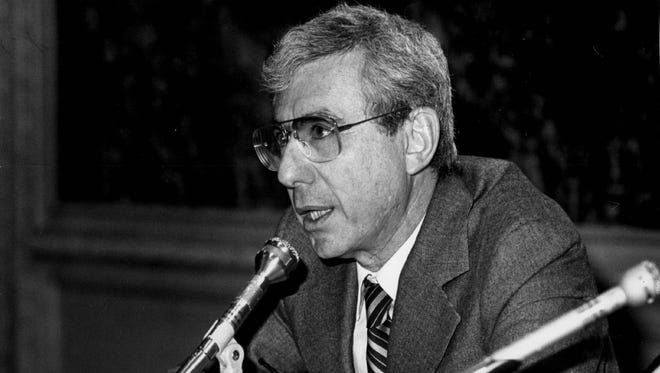 """George J.W. Goodman, better known as author """"Adam Smith,"""" asks what share of the national credit should housing get in November 1981 photo."""