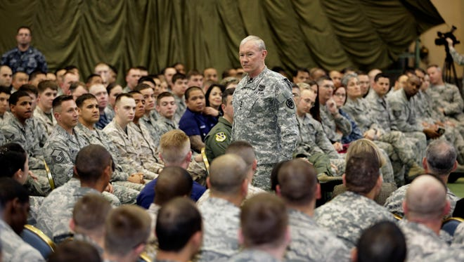 Joint Chiefs Chairman Gen. Martin Dempsey speaks to soldiers of the U.S. Armed Forces in Japan at Yokota Air Base on the outskirts of Tokyo.