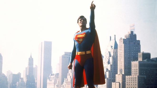 Christopher Reeve the actor as Superman in 1978 in a movie still from the PBS television documentary film 'Superheroes: A Never-Ending Battle.'