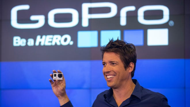 Nick Woodman, founder and CEO of GoPro, speaks during the company's initial public offering at the Nasdaq Stock Exchange in New York City.