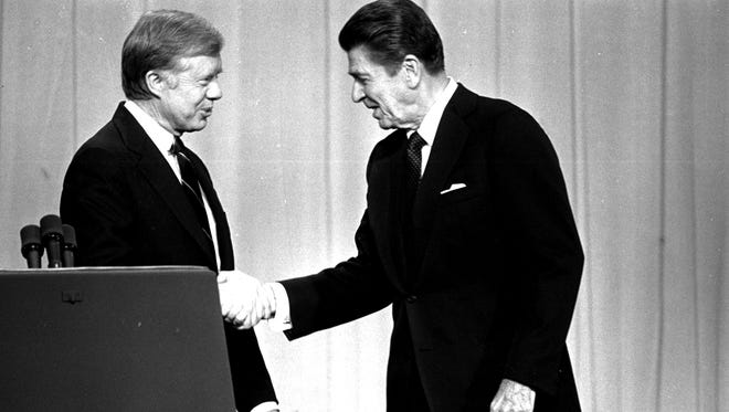 President Jimmy Carter and then-challenger Ronald Reagan in 1980.