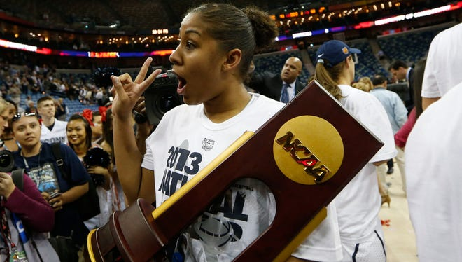 Kaleena Mosqueda-Lewis and Connecticut will try to make it two NCAA titles in a row and a record ninth overall next April.