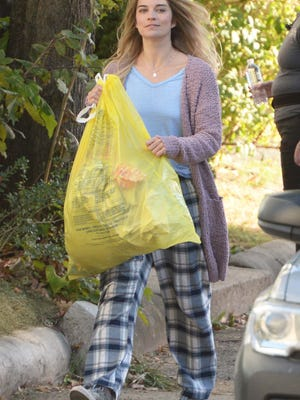 Schitt's Creek breakout Annie Murphy is the lead in American Multi-Cinema (AMC)  dark comedy series Kevin Can F*** Himself being made on Nason Street in Brockton, on Friday, Oct. 9, 2020.
