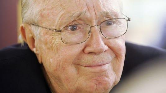 "In this May 21, 2009, file photo, Theodore ""Dutch'' Van Kirk visits a veterans group in Macon, Ga."