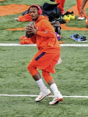 Deshaun Watson warms up before passing in front of NFL scouts at Clemson's pro day on March 16.