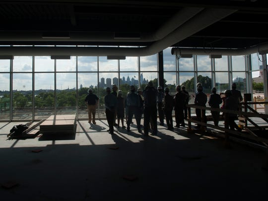 The new Philadelphia 76ers training facility in Camden is shown during a hard-hat tour of the facility Thursday.
