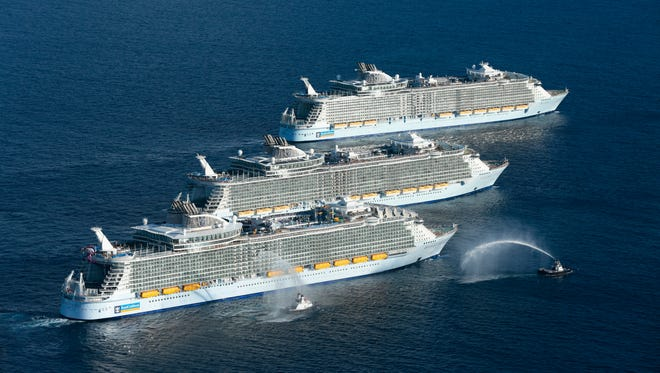 The world's three largest cruise ships -- Harmony of the Seas, Oasis of the Seas and Allure of the Seas -- met up for the first and perhaps only time off the coast of Florida on Nov. 4, 2016.