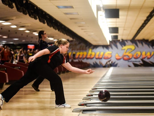 Cardington's Addie Wilhelm competes at the Division II State Bowling Championship at Waynes Webb's Columbus Bowl last season. Wilheim is just a sophomore this season.