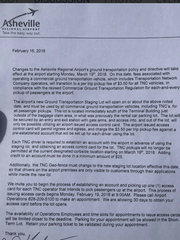 A letter handed to Uber drivers by Asheville Regional