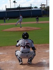 Denny Dwyer pitches at Tigers Fantasy Camp last week in Lakeland, Fla.