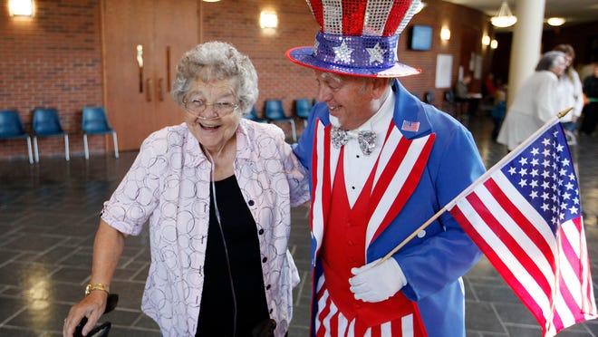 Uncle Sam helping Louisville voters.