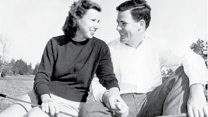 """Pete and Alice Dye at Rollins College in Florida circa 1947. Photo courtesy of Chris Wirthwein, author of the history, """"Crooked Stick Golf Club."""""""