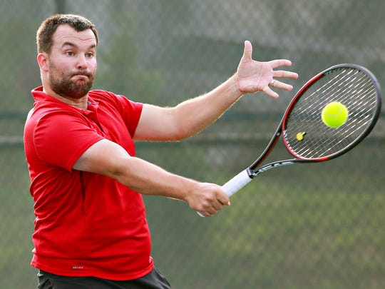Two-time defending champion and York City-County Tennis Tournament director Phil Myers, seen here in a file photo, returns a ball. The 2019 tournament is set to begin on Wednesday at Wisehaven Tennis Center.