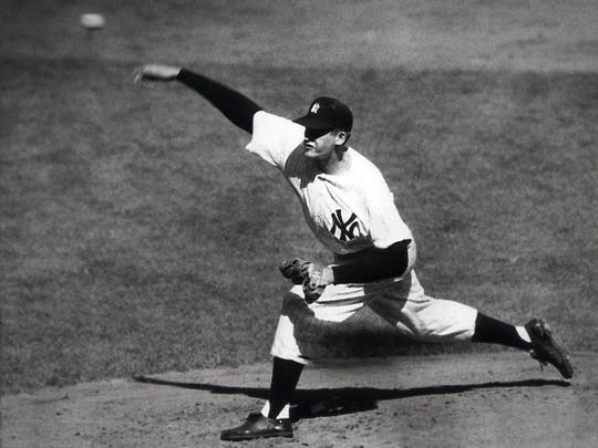 New York Yankees right-hander Don Larsen delivers a