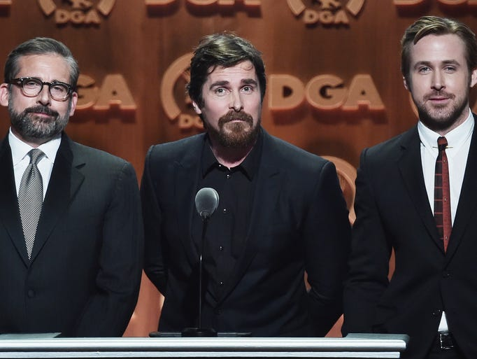 (L-R) Actors Steve Carell, Christian Bale and Ryan