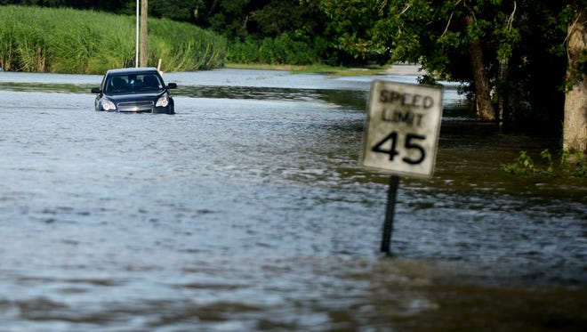 Flooding in south Louisiana Monday.
