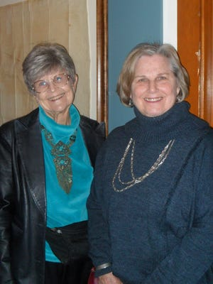 Glenda McCoy (left) and Janell Sanders, both of Redding, attend the Behrens-Eaton House Museum's Chautauqua at the Old Shasta Museum on Jan. 15.