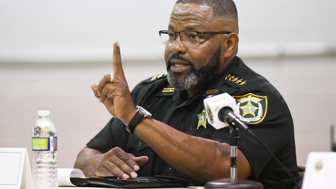 Clay County Sheriff Darryl Daniels spent addresses questions from county residents during an Aug. 4 public event. Daniels was arrested Thursday after a year-long investigation into a sex scandal.