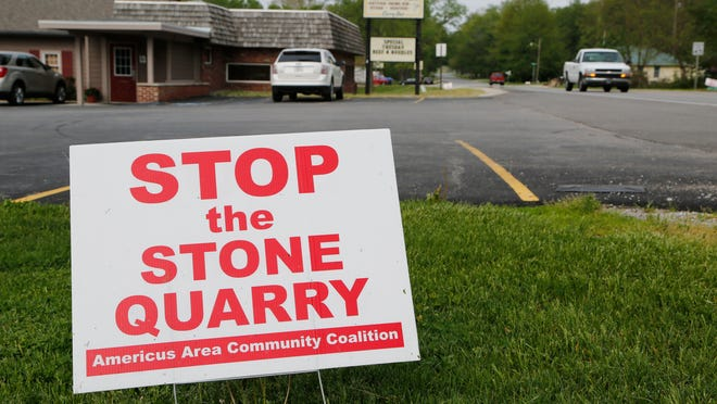 One of many signs against the proposed Rogers Group quarry. The Americus Area Community Coalition is hosting a community picnic from 2 to 5 p.m. Sunday at Wolfe's Leisure Time Campground.