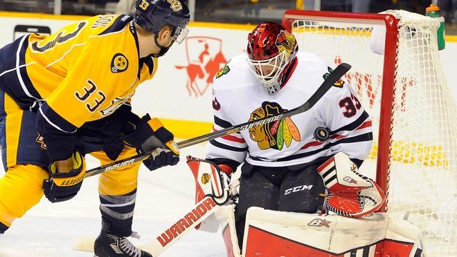 Blackhawks goaltender Scott Darling has defeated the Predators twice in their first-round playoff series.