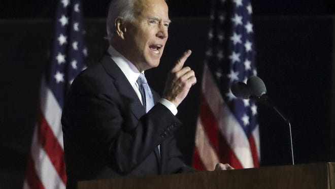 Nov. 7, 2020; Wilmington, DE, USA; Joe Biden delivers a victory speech outside the Chase Center on Riverfront. Mandatory Credit: William Bretzger-USA TODAY NETWORK