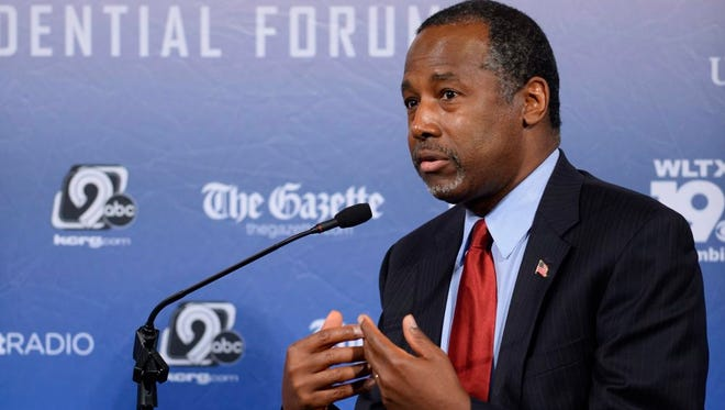 Republican candidate for president Ben Carson, at the Voters First Forum, held at St. Anselm College in Manchester, New Hampshire, on August 3, 2015.