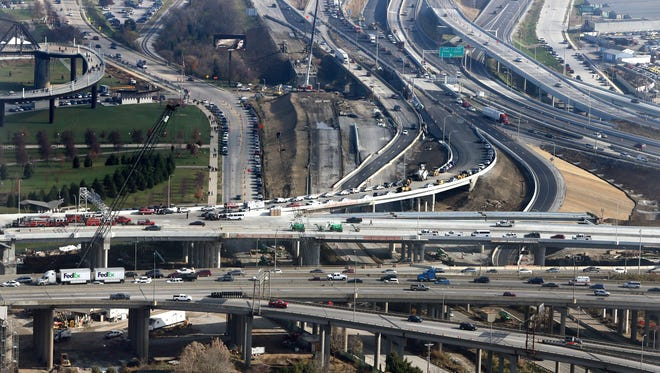 Spaghetti Junction as seen in late December 2015 is a big contributor to heat. A new report identifies roads, pavement and waste heat from cars and trucks as contributors to Louisville's excessive urban heat.