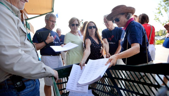 Moms Demand Action for Gun Sense in America delivered more than 114,000 petition signatures to Cabela's in Greenville on Tuesday, July 21, 2015. The group is asking for more strict gun sales procedures at the Cabela's stores across the U.S.