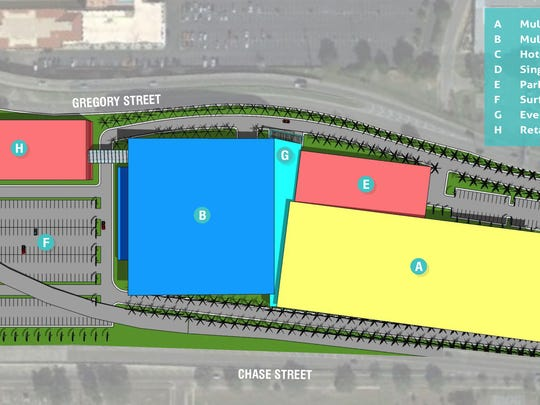 A map shows the layout of the proposed arena and field house if it were located at the site of the current Pensacola Bay Center.