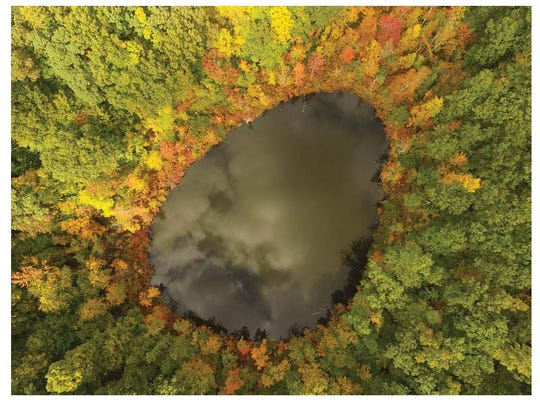 This shot of Devil's Bathtub in Mendon Ponds Park was taken with a drone.