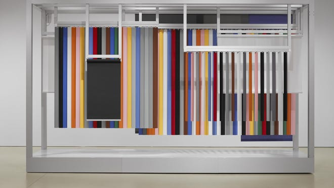 """Pavilion of the Blind,"" by Jennifer Marman and Daniel Borins, 2013. Mechanized vertical blinds, shades and custom-colored panel systems, motors and a microcontroller. Part of the exhibit ""The Collaborationists"" at Scottsdale Museum of Contemporary Art."