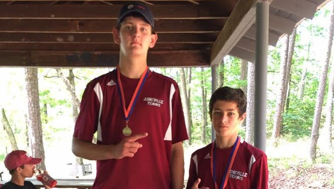 Asheville High's doubles team of Meade Olson and Henry Kelso.