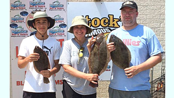 Jeannie Genovese was high hook on the boat in the Absecon Inlet as she caught her first flounder ever, weighing in at 5 pounds.
