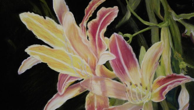 """""""Day Lilies"""" by Judy Hampton, part of the Pastel Society of El Paso exhibition."""