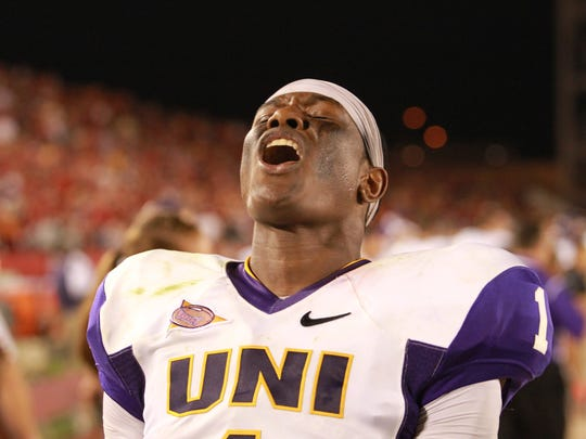 Northern Iowa Panthers defensive back Deiondre Hall celebrates after their win over the Iowa State Cyclones at Jack Trice Stadium.