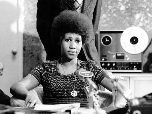 Soul singer Aretha Franklin is shown at a news conference