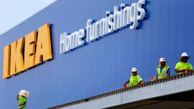 Over the summer, construction workers applied roofing material above the exit of the IKEA store.